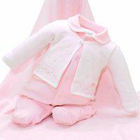 Saída Maternidade Paraiso Plush Com Bordado E Pérolas Rosa