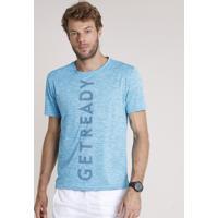 """Camiseta Masculina Esportiva Ace """"Get Ready"""" Mescla Manga Curta Gola Careca Azul"""