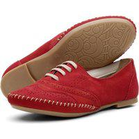 Sapato Oxford Casual Conforto Em Couro 15360 Vermelho