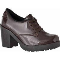 Oxford D&R Shoes Verniz Tratorada Feminina - Feminino-Marrom
