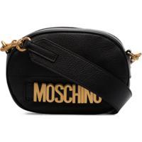 Moschino Camera Bag De Couro Com Logo - Preto