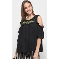 Blusa Chic Up Bata Off Shouder Bordado Feminina - Feminino-Preto
