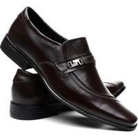Sapato Social Venetto Couro Bico Fino Conforto Masculino - Masculino-Preto
