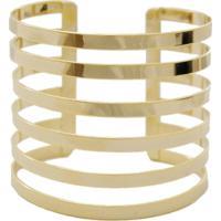 Bracelete Crisfael Acessórios Em Tiras Finas De Metal Metal Ouro