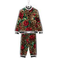 Dolce & Gabbana Kids Conjunto Esportivo Animal Print - Marrom