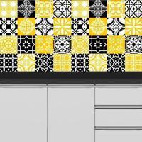 Adesivo Azulejos Retrô Amarelo E Preto (15X15Cm)