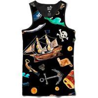 Regata Long Beach Náutica Elementos Piratas Sublimada Masculina - Masculino-Preto