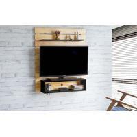 Painel De Tv Para Quarto Standby - Painel De Parede Tv Até 45 Polegadas Natural E Preto -100X23X115 Cm