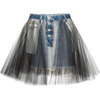 Unravel Project Saia Jeans Com Sobreposição - Azul
