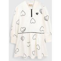 Vestido Milon Infantil Coração Off-White