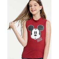 Blusa Juvenil Disney Mickey Gola Alta Feminina - Feminino-Vermelho