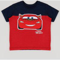 Camiseta Infantil Carros Relâmpago Mcqueen Manga Curta Vermelha