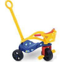 Triciclo Peixinho Com Empurrador, Proteção E Cestinha Azul Xalingo