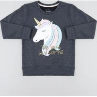 Blusão Infantil Em Moletom Com Paetê E Glitter Cinza Mescla Escuro
