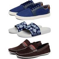 Kit 1 Sapatênis Shiver + 1 Mocassim + 1 Chinelo Slide Conforto Masculino - Masculino-Azul+Branco