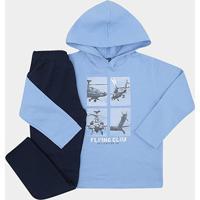 Conjunto Infantil Longo Pipa Helicóptero C/ Capuz Masculino - Masculino-Azul