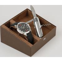 Kit De Relógio Analógico Mondaine Masculino + Canivete - 99349G0Mvni2K Preto - Único