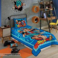 Colcha Em Matelass㪠Dragon Ball⮠Solteiro- Azul & Vermellepper