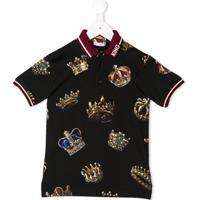 Dolce & Gabbana Kids Camisa Com Estampa De Coroa - Preto