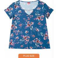Blusa Azul Floral Detalhe Metálico Wee!