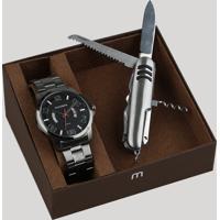 Kit De Relógio Analógico Mondaine Masculino + Canivete - 78756G0Mvns2K Grafite - Único
