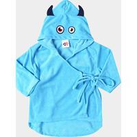 Roupão Infantil Monstro Tip Top Masculino - Masculino-Azul