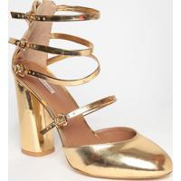 Sapato Tradicional Com Tiras - Dourada- Salto: 10Cmmya Haas