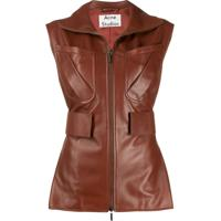Acne Studios Zip-Up Leather Waistcoat - Marrom