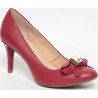 Sapato Em Couro Com Laço- Vermelho- Salto: 7,5Cmjorge Bischoff