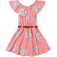 Vestido Bebê Flores E Cinto Rosa - Fakini