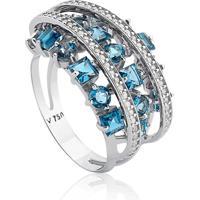Anel Ouro Branco Diamantes E Topázio Azul Ilusão
