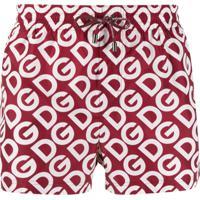 Dolce & Gabbana Logo Print Swimming Shorts - Vermelho