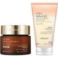 Combo Botik: Gel Creme Facial Firmador Ácido Hialurônico 40G + Gel De Limpeza Facial Nutritivo Vitamina B5 150G
