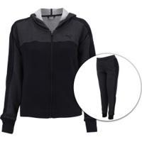 Agasalho De Moletom Com Capuz Puma Prime Sweat Suit Cl - Feminino - Cinza Escuro/Preto