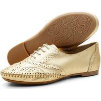 Sapato Oxford Feminino Casual Em Couro Q&A Calçados Ouro