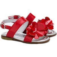 Simonetta Sandália Com Aplicação Floral - Vermelho