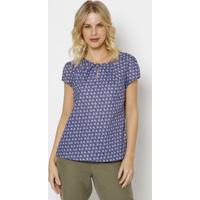 Blusa Floral Com Recortes Vazados- Roxa & Azul- Vip Vip Reserva