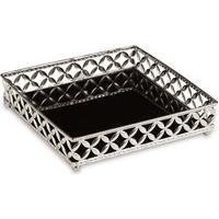 Bandeja Decorativa Quadrada Em Metal Prata Com Espelho Preto 5X21 Cm - D'Rossi