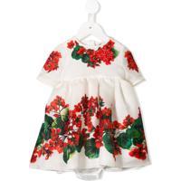 Dolce & Gabbana Kids Vestido Floral Com Mangas Curtas - Branco
