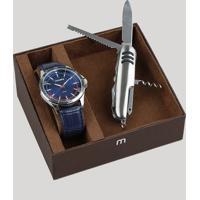 Kit De Relógio Analógico Mondaine Masculino + Canivete - 83375G0Mvnh2Kc Azul Marinho - Único