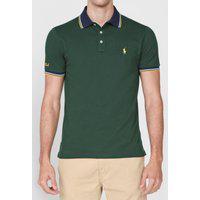 Camisa Polo Polo Ralph Lauren Slim Frisos Verde/Azul-Marinho