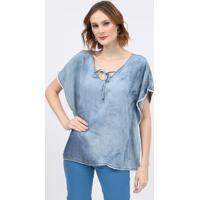 Blusa Jeans Com Amarraã§Ã£O - Azulscalon