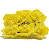 Flor Rosa Mini Com 6 Unidades Amarelo