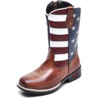 Bota Infantil Country Texana Top Franca Shoes Americana Masculina - Masculino-Cafe