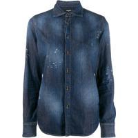 Dsquared2 Camisa Jeans Com Efetio Desbotado - Azul