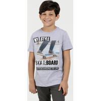 Camiseta Infantil Estampa Skate Manga Curta Marisa