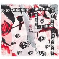 Alexander Mcqueen Lenço Com Estampa Skull And Rose - Neutro