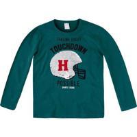 "Camiseta ""Touchdown Possible""- Verde Escuro & Preta-Hering"