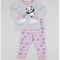 Pijama Infantil Panda Arco-Íris Manga Longa Rosa