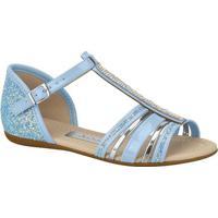 Sandália Rasteira Com Glitter & Strass- Azul Claro- Molekinha